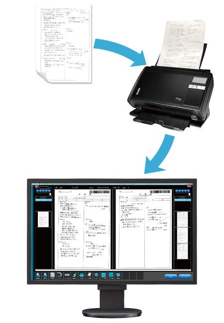 紙カルテをスキャンして電子化する。